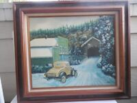 """ORIGINAL OLD TIMER CAR IN SNOW BY ARONOWITZ OIL ON CANVAS PAINTING 32"""" X 28"""""""