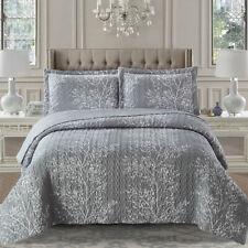 Odette Printed Quilt Floral Coverlet Set Bedspread All Sizes - Beige Or Gray