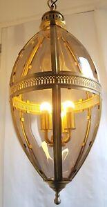"""LARGE OVOID PENDANT CEILING LIGHT BRASS & GLASS 4 BULB LANTERN 37"""" OR 91 CM LONG"""