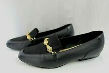 CROFT & BARROW WOMENS OFFICE/DRESS SLIP-ON LOAFERS SIZE 6 BLACK LEATHER & FABRIC