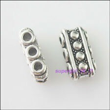 4Pcs Tibetan Silver 3-Hole Spacer Bar Beads Charms Connectors 7.5x15mm