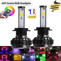 RGB 72W H7 COB LED Ampoule Voiture Feux Phare Lampe Kit Remplacer HID Xénon