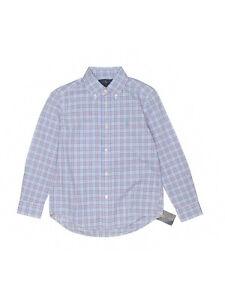 New Boy Ralph Lauren Polo Blue Pink Plaid Dress Button Down L/S Shirt Size 6