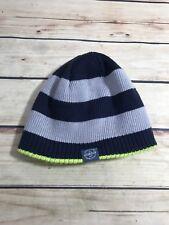 7208679702a OshKosh Reversible Knit Beanie Hat Boys Sz 4-7 Navy Blue Gray Striped Lime  Green