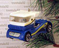BIG RIG SEMI TRACTOR CAB BLUE WHITE RACE TRUCK RACING CHRISTMAS ORNAMENT XMAS
