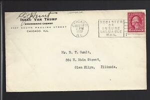 CHICAGO, ILLINOIS, 1922 COVER ADVT.  ISAAC VAN TRUMP. ENGINEERING CHEMIST.
