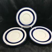 "Set of 3 NORITAKE Primastone FJORD Blue White 6-1/8"" Saucers"