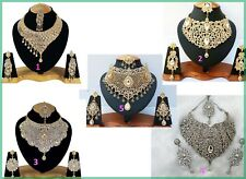Whole Sale Lot Of 5 New Bollywood Kundan Zircon Party Wear Necklace Jewelry sets