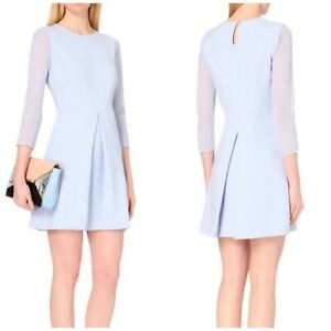 TED BAKER NAMOUR A LINE PALE BLUE DRESS TED SIZE 2 UK 10