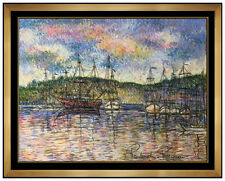Paul Emile Pissarro Original Pastel Painting Signed French Seascape Artwork SBO