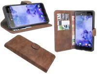 Book-Style Handy Hülle Tasche Zubehör Etui Case in Braun für HTC U ULTRA @COFI