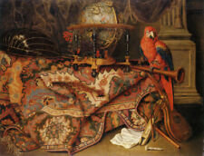 "oil painting  "" Still Life with Turkish Carpet and a Parrot""@N15074"