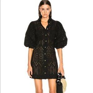 Ganni Broderie anglaise Black Mini Dress
