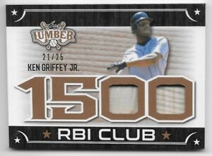 2021 Leaf Lumber Ken Griffey Jr. 1500 RBI Club Game Bat/25
