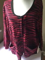 Sonia Rykiel Paris Red Black Zebra Cotton Knit Button Front Top L/XL Pockets
