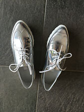 Miista Silver Oxford Style Flat Leather Shoes Sz 36 / UK 3