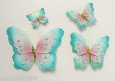 4 Pack - azul rosa brillo Tejido Mariposa Decoración CLIPS Niñas Dormitorio