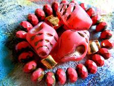 4Stk. sehr grosse Matte Siam Red Schneckenhaus-Perlen m.Bronze -24x18mm-