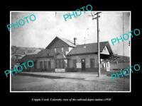 OLD LARGE HISTORIC PHOTO OF CRIPPLE CREEK COLORADO, THE RAILROAD STATION c1920