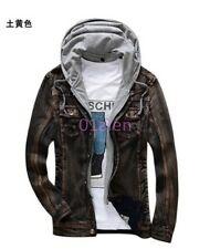 Spring Vintage Chic Mens Jean Jackets Hooded Retro Furry Slim Lined Denim Coats