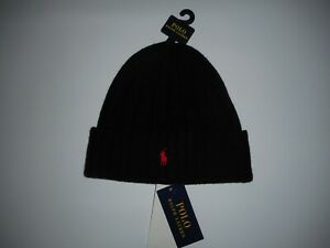 Polo RALPH LAUREN Logo Embroidered Pony Mens WOOL Black Knit Beanie HAT Cap NEW