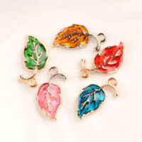 10Pcs Leaves Enamel Charms Metal Pendant Bead Jewelry Findings Making Colorful