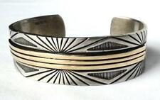 14k Gold Wide Cuff Bracelet Heavy Vintage Mm Rogers Navajo Mens Unisex Sterling