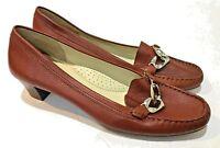 Wirth Burgundy Red Leather Slip On Moc Toe Loafer Heel Shoe Women's US 10 EU 40