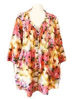 Nouvelle-Floral-Light Cotton Tunic Top-Size 18