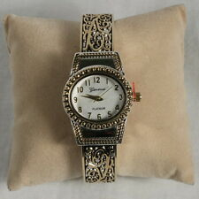 "Two-tone Cuff Watch, Brighton Beach Oval ""Beads & Vines""-Free Xtra Battery!"