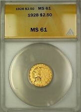 1928 $2.50 Indian Quarter Eagle Gold Coin ANACS MS-61 (B)