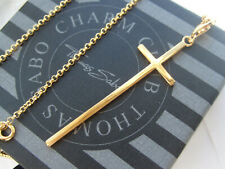New genuine Thomas Sabo 18ct gold plated silver cross necklace RRP £167