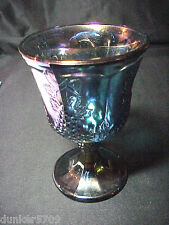 1--INDIANA CARNIVAL IRIDESCENT BLUE GLASS GOBLET HARVEST GRAPE PATTERN 5 1/4 IN