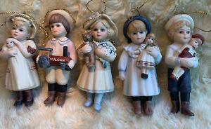 LOT OF 5  Jan Hagara Collectibles Miniature Doll Ornament Figurines Boys Girls