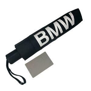 BMW Black Umbrella 37-inch Diameter Auto Open Silver Letters NWT #80230439653