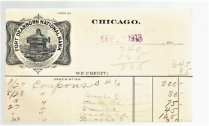Illinois Chicago 1913 Ad Postcard Ft Dearborn w Shermack Ty III Perf Sc#408