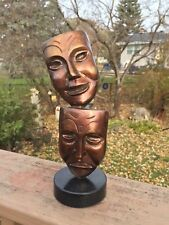 Theatre Mask Figures -All Metal, Sad & Happy Faces - Bronze Wash Over Relief Des