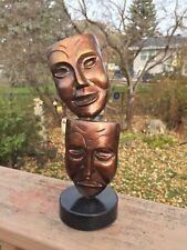 Theatre Mask Figures -All Metal, Sad & Happy Faces - Bronze Wash Over Relief Des