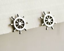 925 Sterling Silver Nautical Ship's Wheel Stud Earrings - Gift Boxed