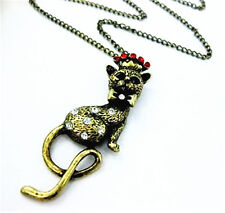 Bronze queen cat w red crystal crown bow charm necklace