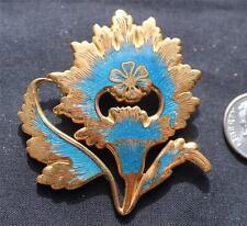 Vintage 1985 MMA Blue Enamel INDIAN MOGHUL Design FLOWER Pin Brooch Pendant