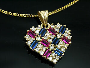 333 Gold  Herz Anhänger mit Goldkette mit  Rubinen und Saphiren 20 x 16 mm