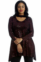 New Womens Top Plus Size Swing Style Polka Dot Foil Ladies Tunic Choker Neck