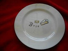 """POTTERY BARN CHEESE PLATE REPLACEMENT BRIE BLACK RIM 7 3/4"""""""