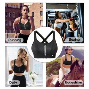 Womens Wireless Padded Sports Bra Front Zipper Closure Two Way Adjustable Straps