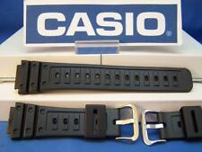 Casio Watch Band DW-5600 C-9 Original G-Shock Blk Rubber Strap w/Gold Tone bkle