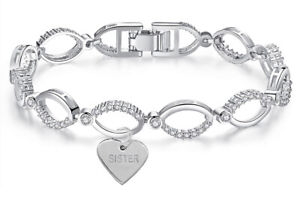 Swarovski® Bracelet Personalised Crystals Sister Engraved Jewellery Silver Gift