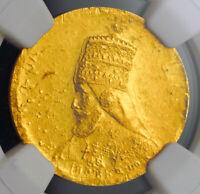 1927 (EE 1921), Ethiopia. Gold Mule Presentation Werk Pattern Coin. NGC MS-62!