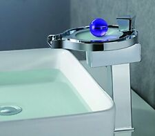 Chrome LED Waterfall Colors Changing Bathroom Basin Mixer Sink Faucet - HDD727H