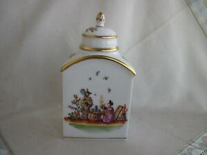 Wunderschöne Meissen Teedose mit Chinoiserie und Indischen Blumen